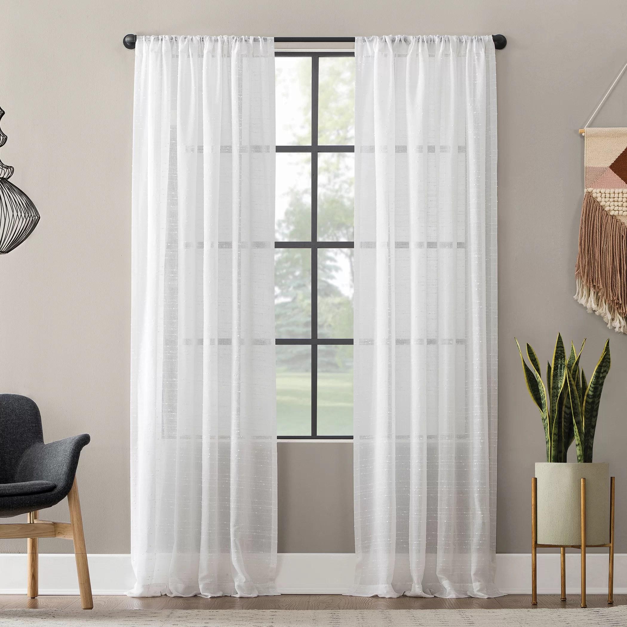 textured slub anti dust striped semi sheer rod pocket single curtain panel