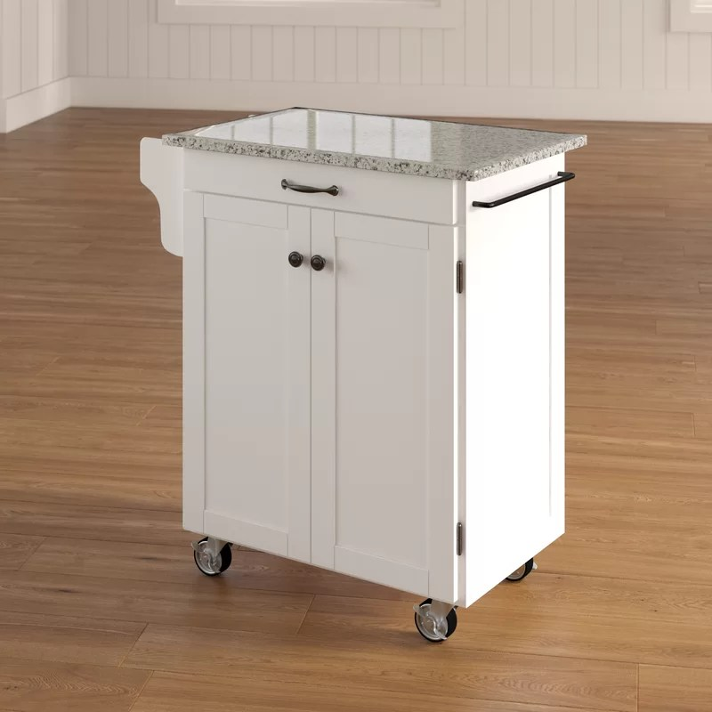 granite top kitchen cart mdf cabinets savorey with reviews joss main