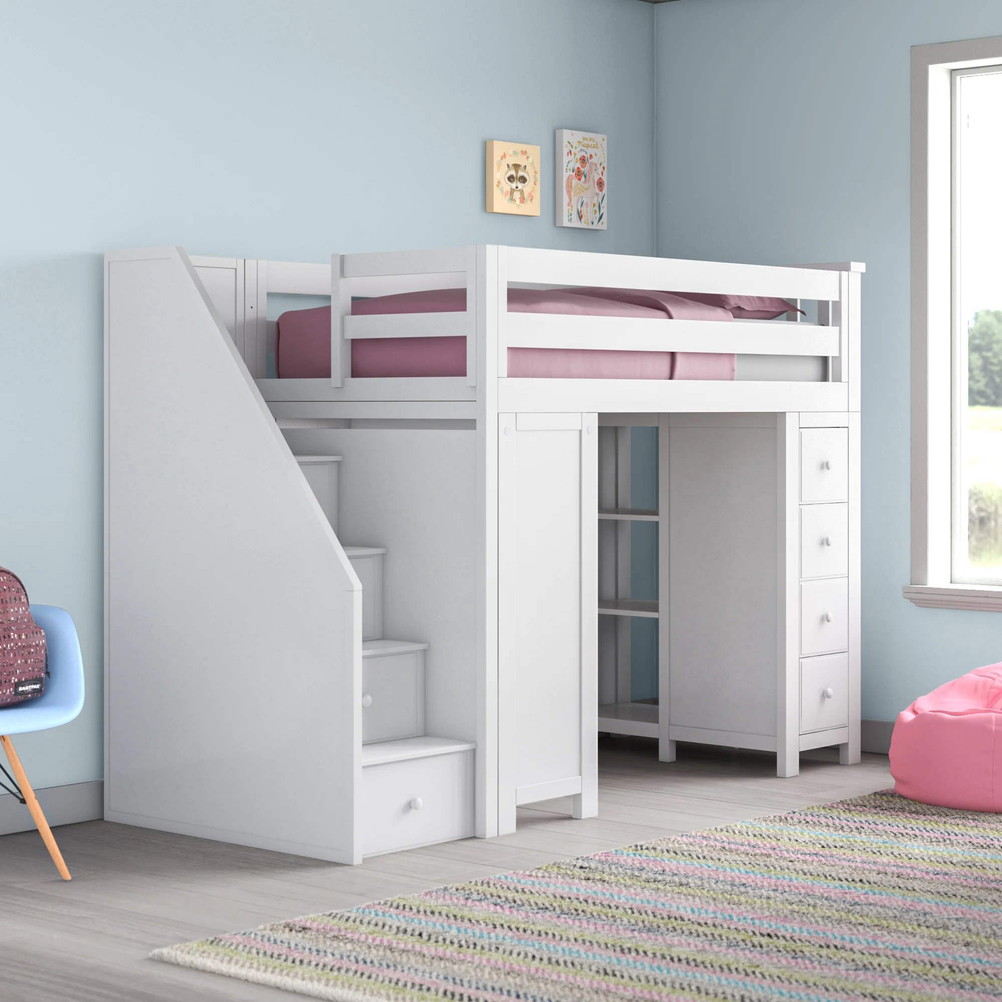 Harriet Bee Deshotel Twin Loft Bed With Drawers And Shelves Reviews