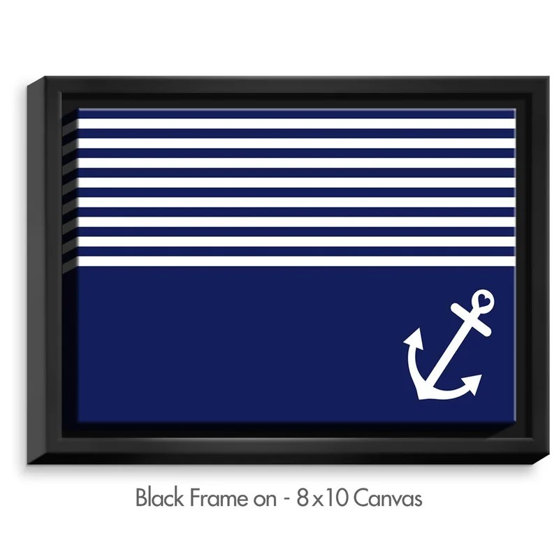 Love Anchor Nautical by Organic Saturation Graphic Art on Wrapped Framed Canvas Size: 17.75 H x 21.75 W x 1.75 D Frame Color: Black