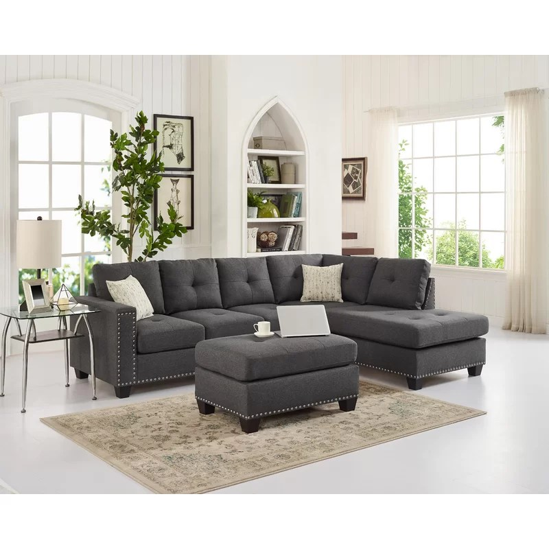 everleigh 105 reversible sofa chaise with ottoman
