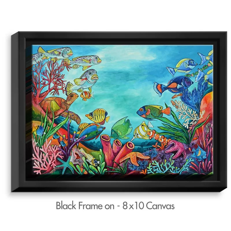 Coral Reef by Patti Schermerhorn Painting Print on Wrapped Framed Canvas Size: 12.75 H x 15.75 W x 1.75 D Format: Black Framed