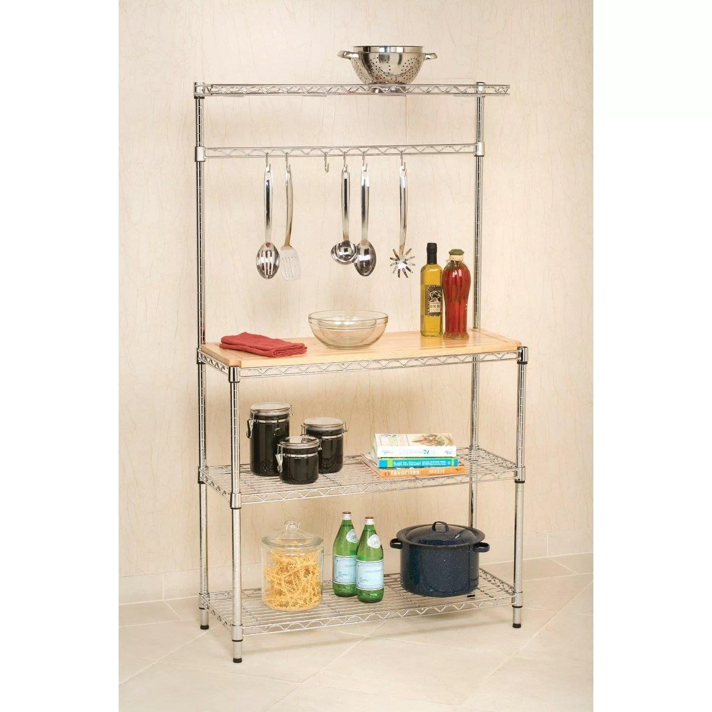 jordon 59 h x 35 w x 14 d kitchen baker rack shelf microwave stand storage cart with cutting board