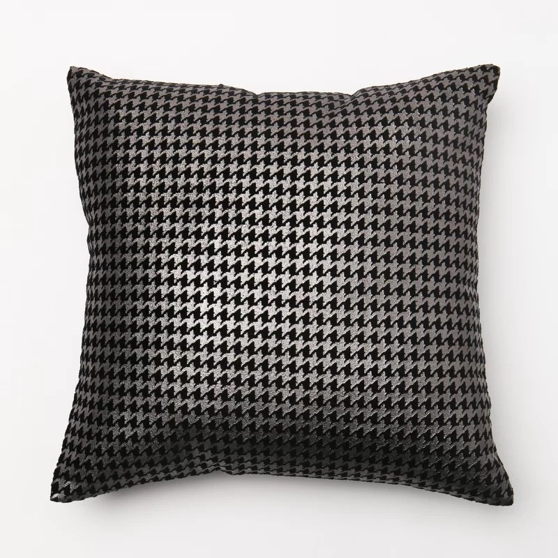 Houndstooth Throw Pillow Cover Color: Black