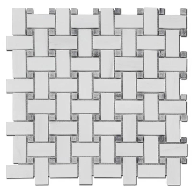 basket weave 1 x 2 marble mosaic wall floor tile in bianco dolomite