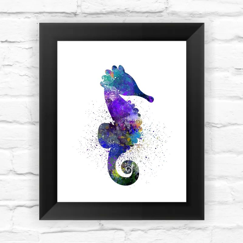 Seahorse Sea Life Watercolor Framed Graphic Art Size: 11.5 H x 9.5 W x 0.75 D