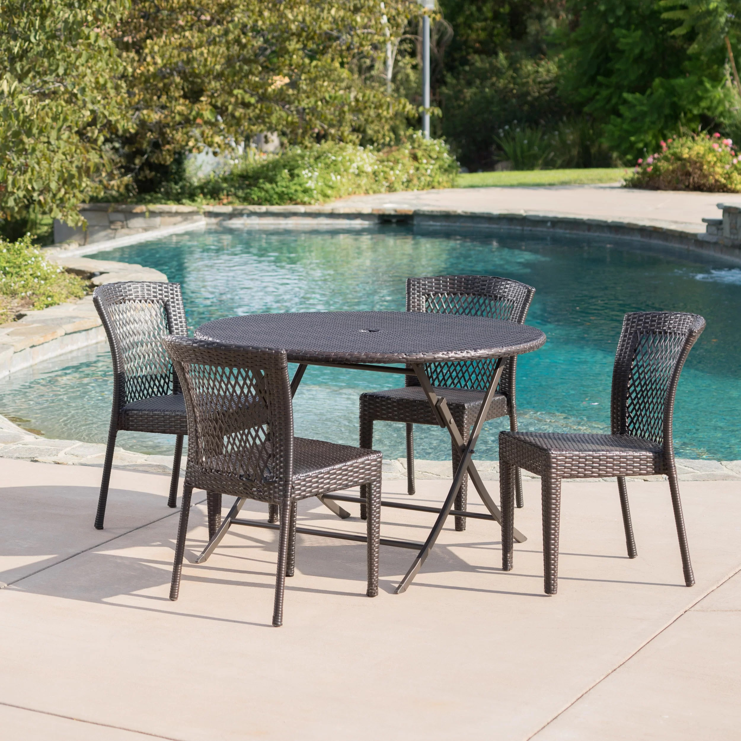 Outdoor Wicker Dining Chairs Shantay Outdoor Wicker 5 Piece Dining Set