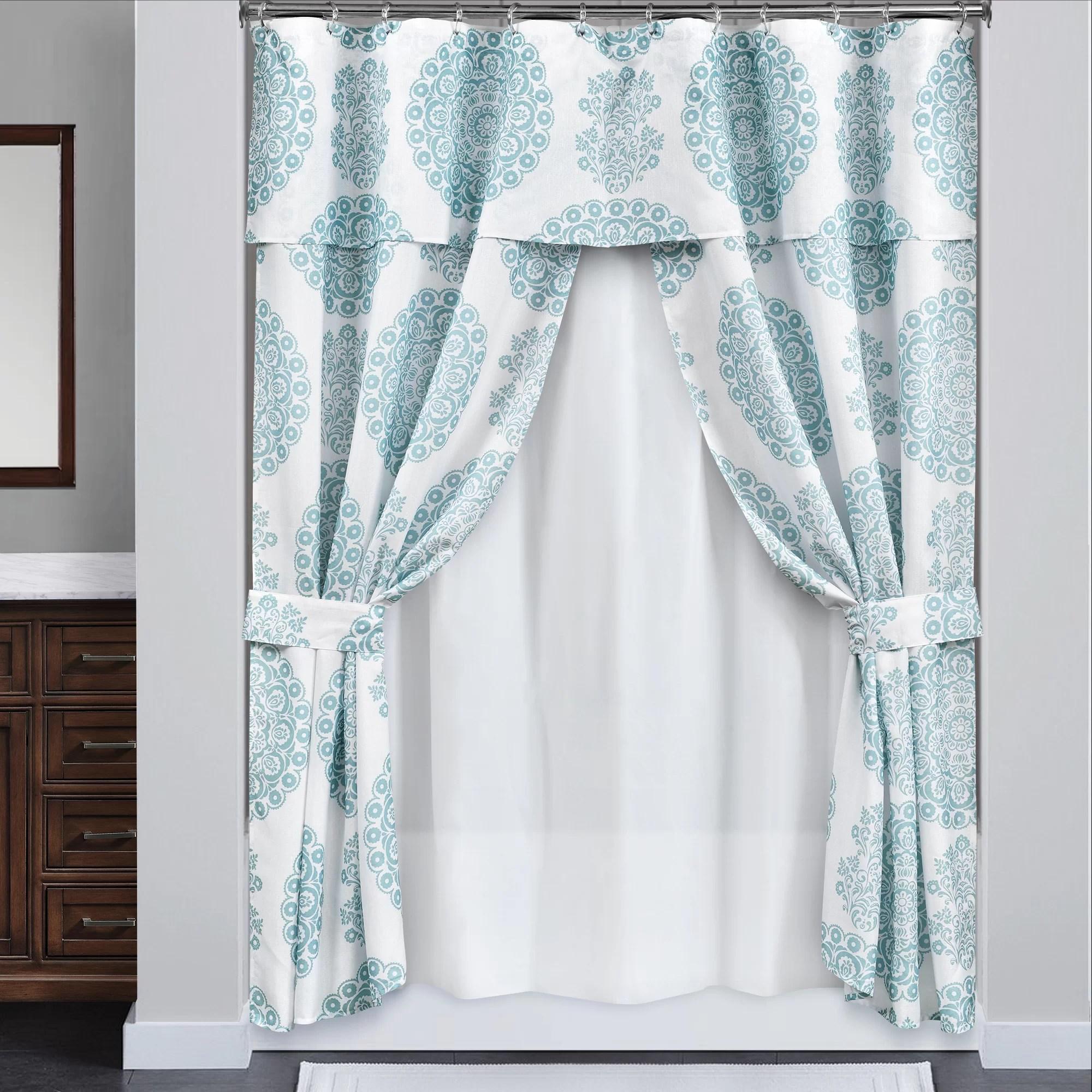 zamora double 4 piece shower curtain set hooks