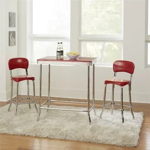 retro red kitchen table and chairs where to buy chair covers in singapore set wayfair bate 3 piece dining