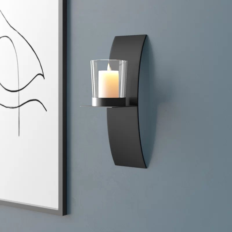 Contemporary Glass and Iron Wall Sconce