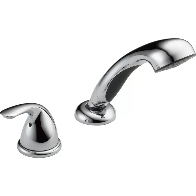 classic single handle deck mounted roman tub faucet trim with handshower