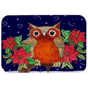 owl kitchen rugs island hood rug wayfair whose happy holidays bath mat