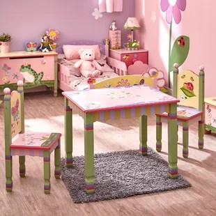 table and chairs for kids padded metal folding you ll love wayfair magic garden 3 piece chair set