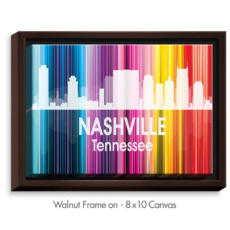 City II Nashville Tennessee by Angelina Vick Graphic Art on Wrapped Framed Canvas Size: 12.75 H x 15.75 W x 1.75 D Frame Color: Walnut