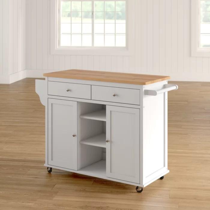 wooden kitchen cart rustic hardware alcott hill brecht wood reviews wayfair ca