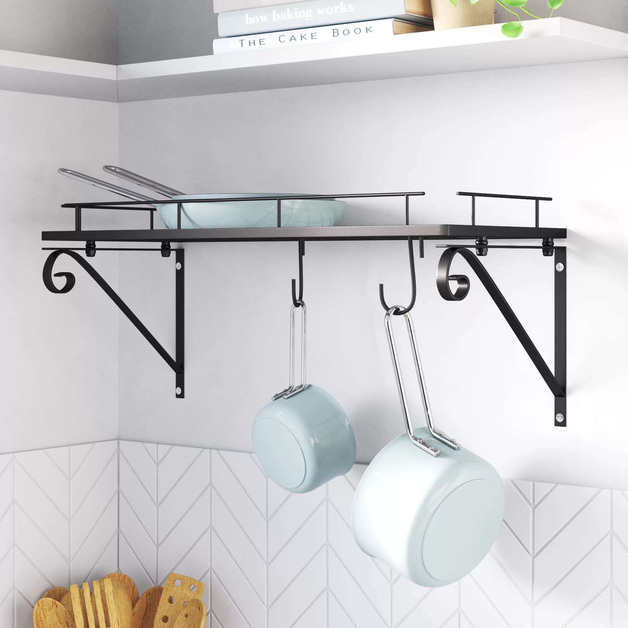 kitchen wall mounted pot rack