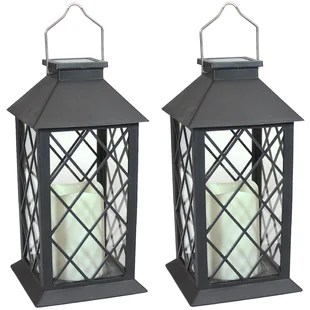11 solar powered integrated led outdoor lantern set of 2