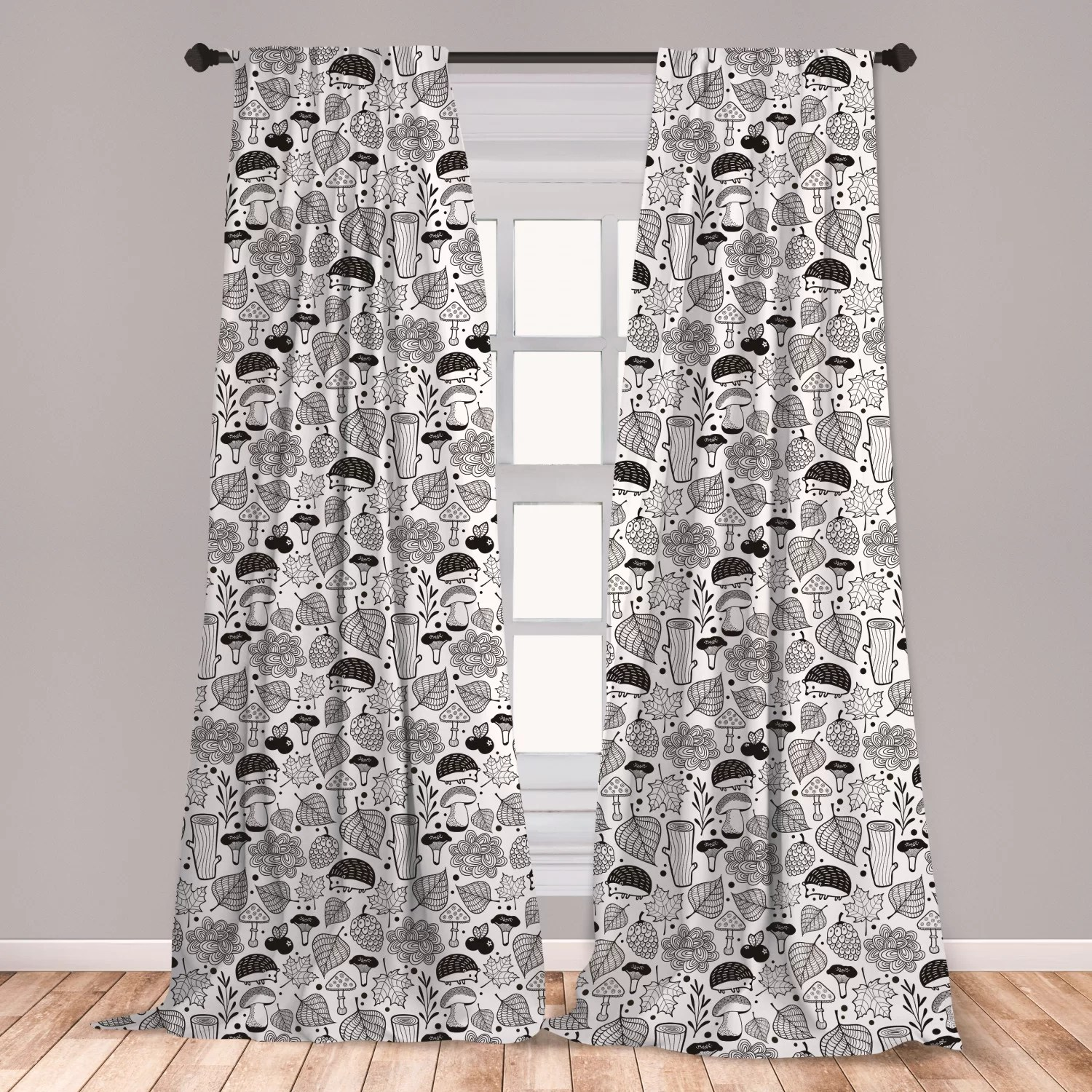 $24 window curtains for bedroom,black pattern for bedroom l 63 x w 5 home kitchen home dã â©cor products window treatments East Urban Home Ambesonne Hedgehog Curtains Ecological Nature Elements Woodland Pattern Black And White Doodle Composition Window Treatments 2 Panel Set For Living Room Bedroom Decor 56 X 63 Black White Wayfair