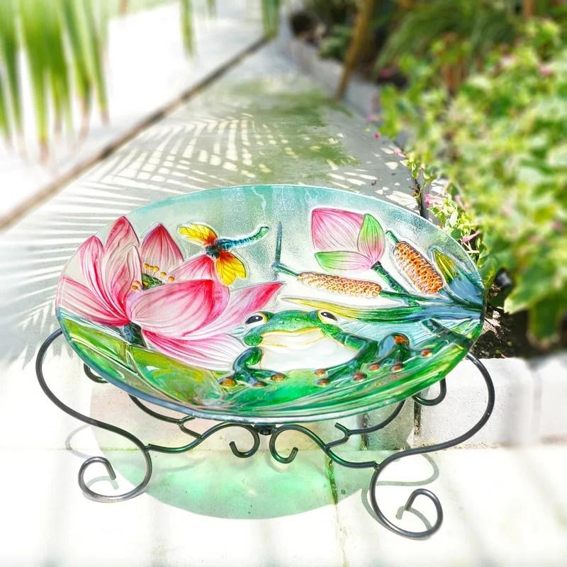 Frog and Lotus Glass Plate