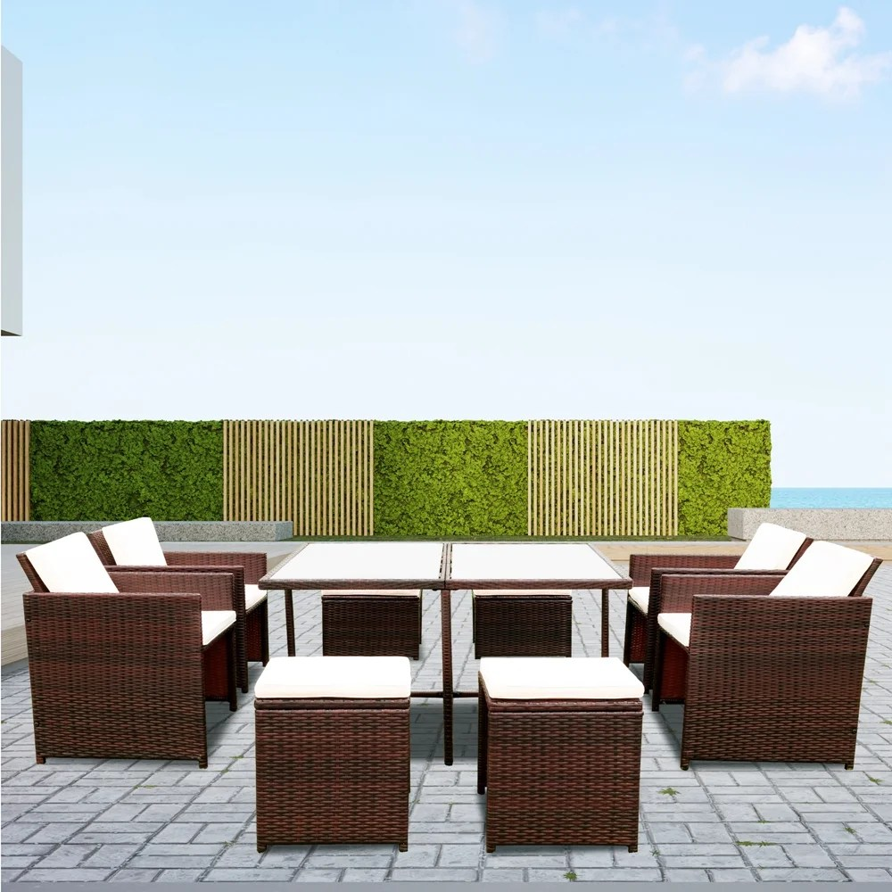 9 pieces patio dining sets outdoor space saving rattan chairs with glass table patio furniture sets cushioned seating and back sectional conversation