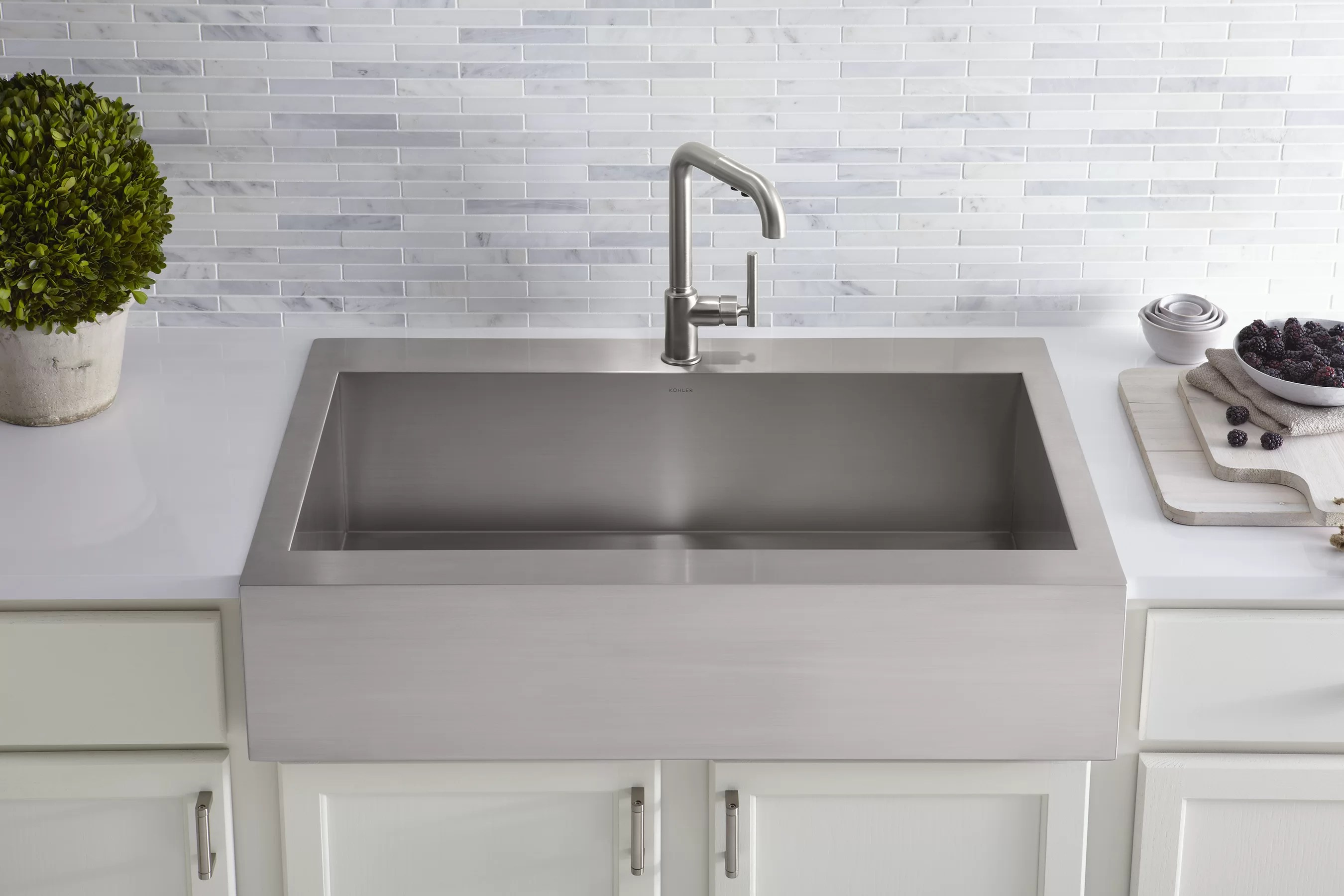 vault top mount single bowl stainless steel kitchen sink with shortened apron front for 36 cabinet