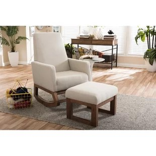 rocking chair footrest lounge leather with foot rest wayfair save