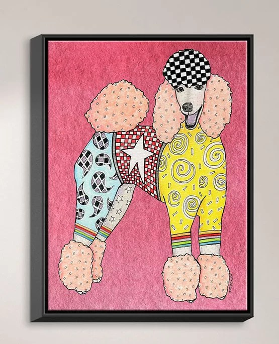 Poodle by Marley Ungaro Painting Print on Wrapped Framed Canvas Size: 15.75 H x 12.75 W x 1.75 D Frame Color: Black