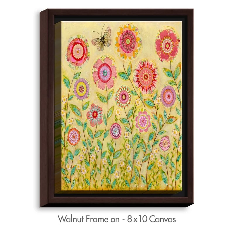 July Flowers Butterfly by Sascalia Painting Print on Wrapped Framed Canvas Size: 37.75 H x 25.75 W x 1.75 D Frame Color: Walnut