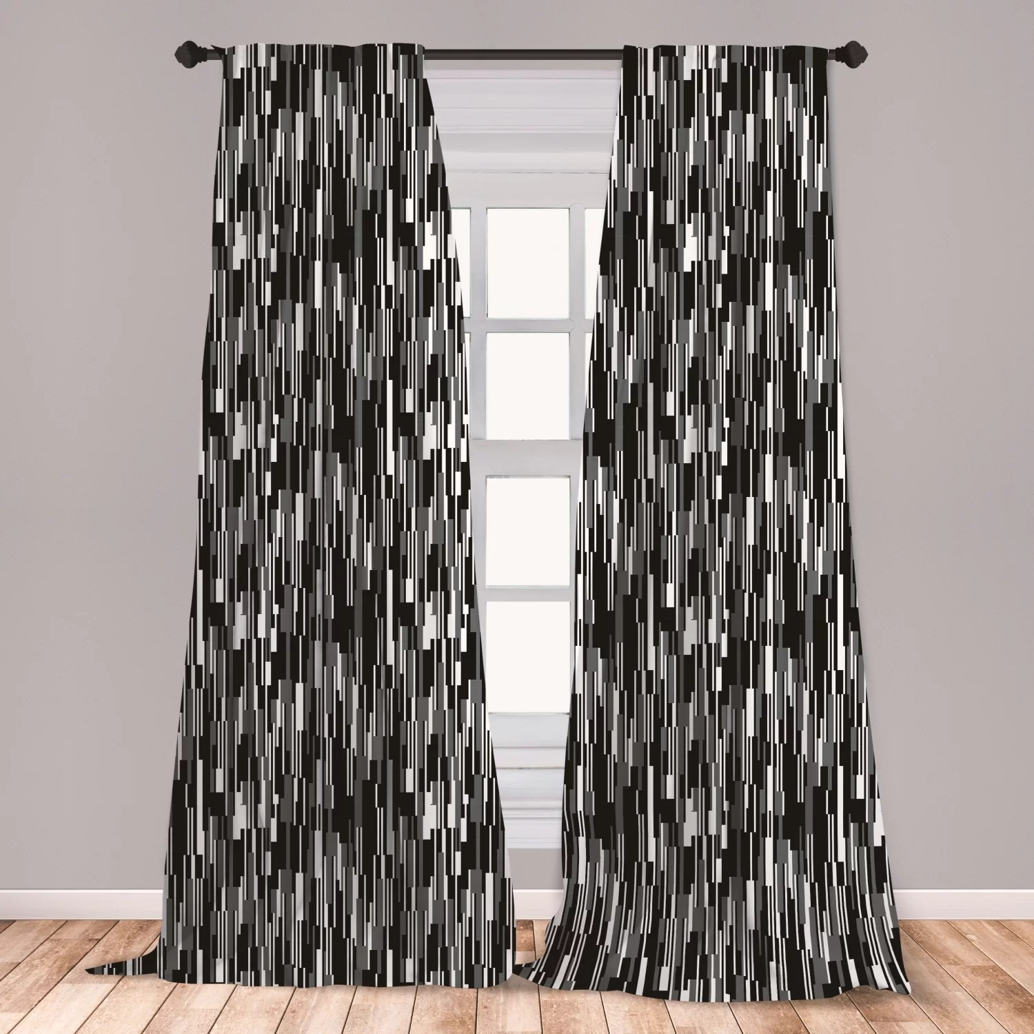 antora black and white window curtains barcode pattern abstraction vertical stripes in grayscale colors lightweight decorative panels set of 2 with