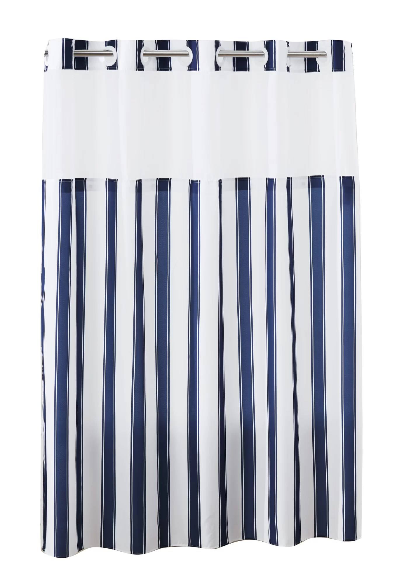 Hookless Shower Curtain Stripes With Peva Liner Navy