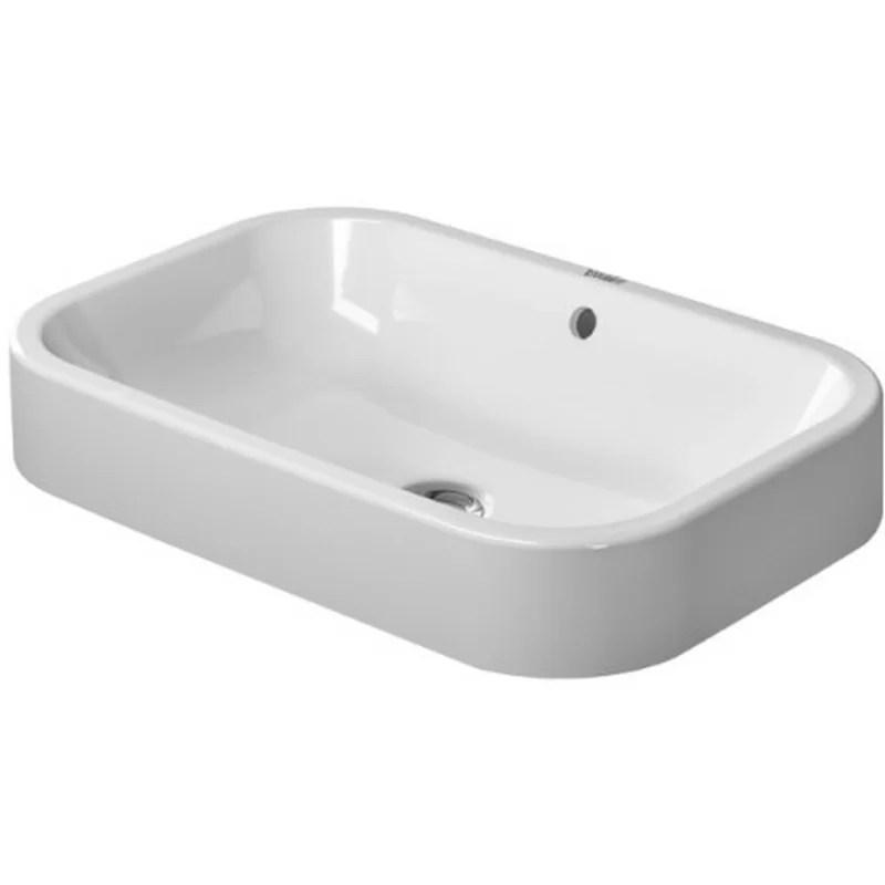 Happy D. Ceramic Rectangular Vessel Bathroom Sink with Overflow