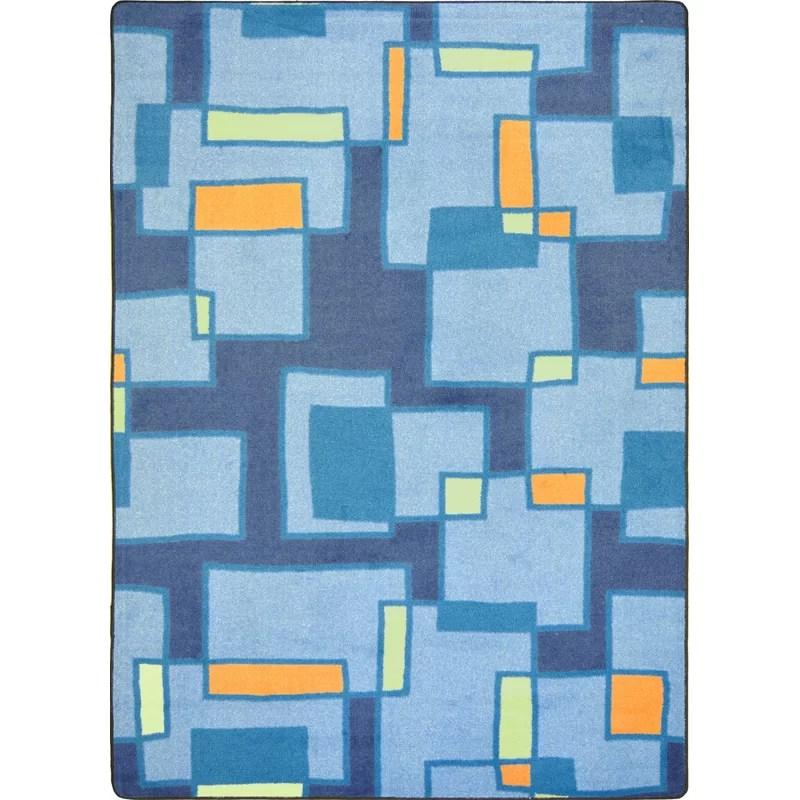 Hand-Tufled Blue Area Rug Rug Size: 54 x 78
