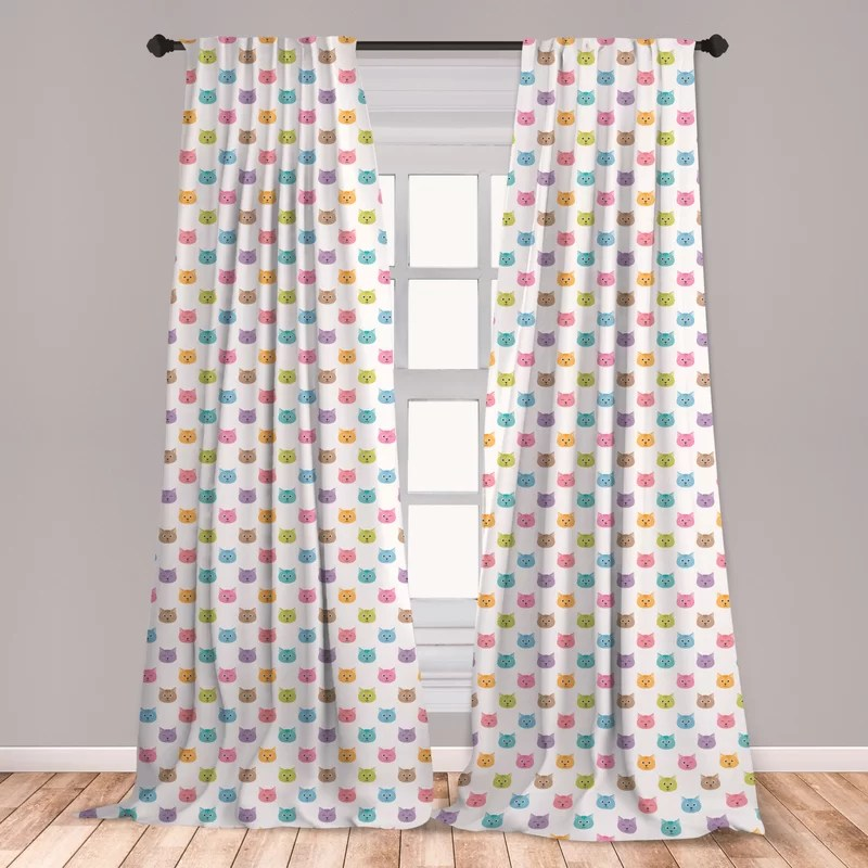 amaranth cat window curtains colorful pattern of faces kids boys girls nursery design domestic pets meow lightweight decorative panels set of 2 with
