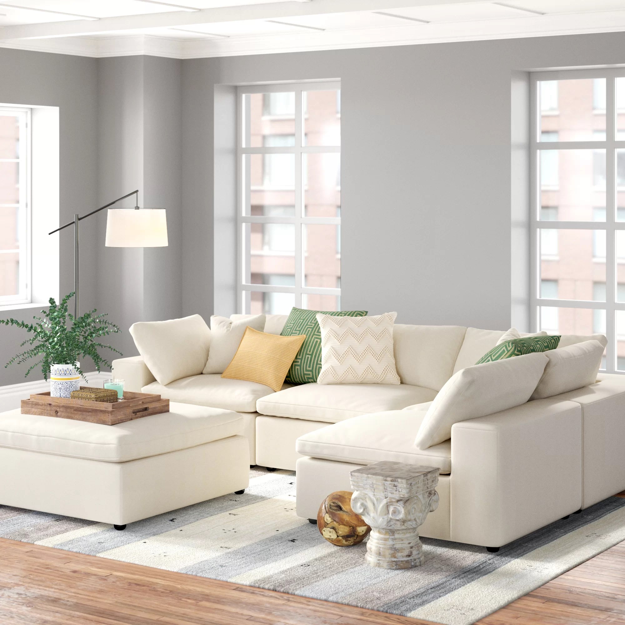 trask 133 symmetrical modular large sectional with ottoman