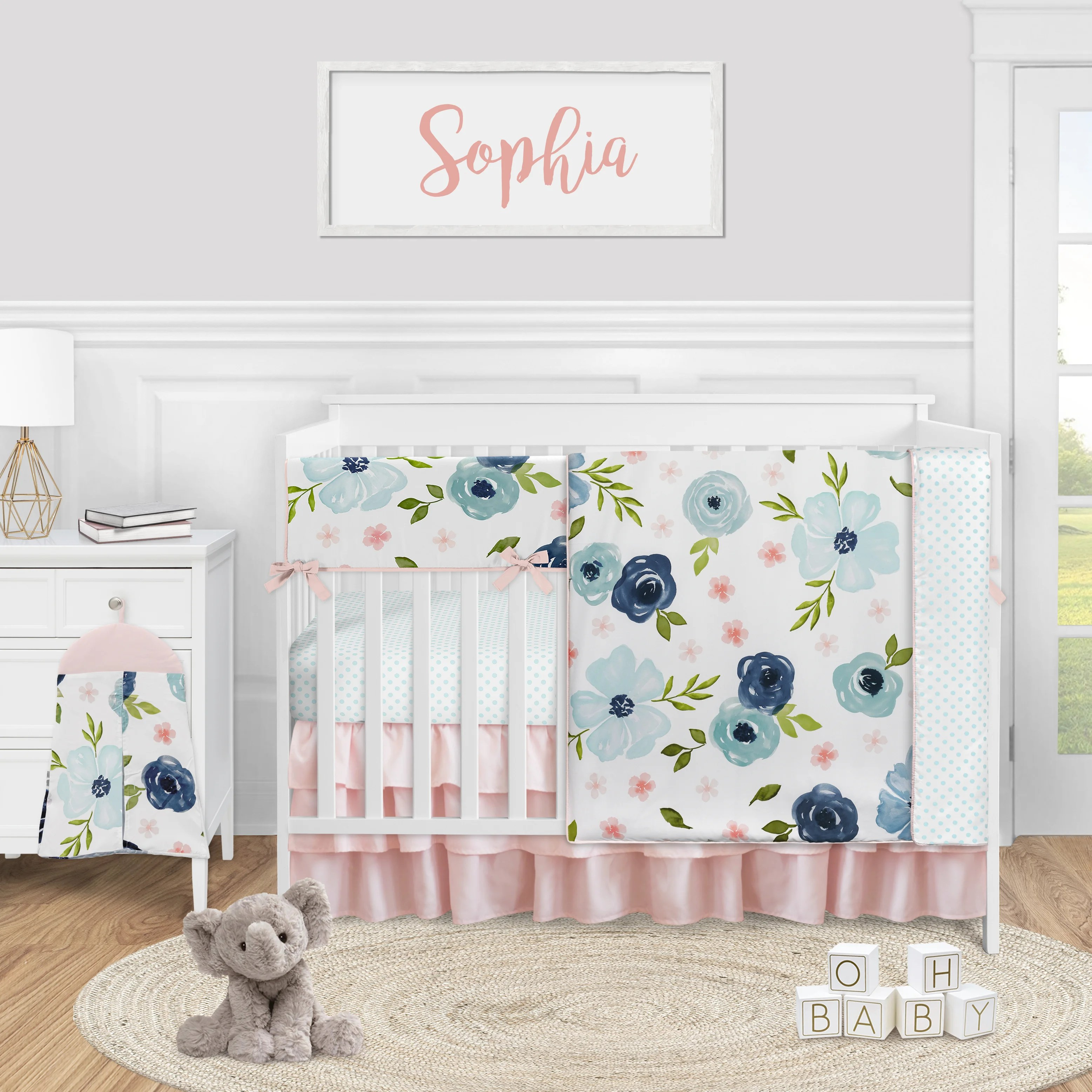 navy blue and pink watercolor floral 5 piece crib bedding set