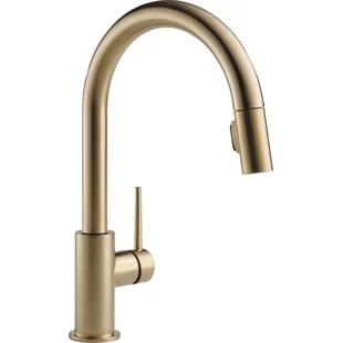 trinsic pull down single handle kitchen faucet with magnatite docking and diamond seal technology