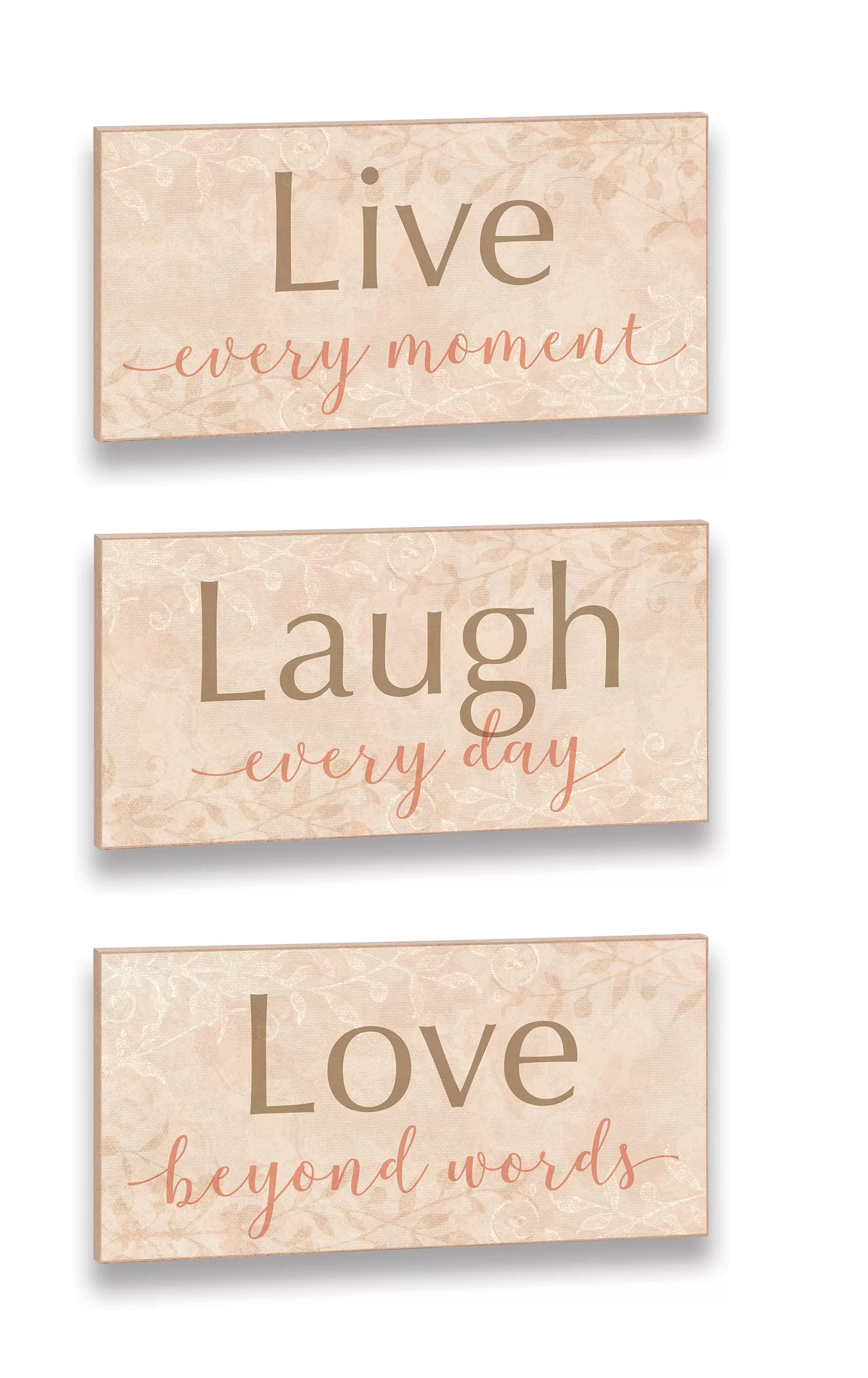 3 piece live laugh love word trio plaque wall decor set