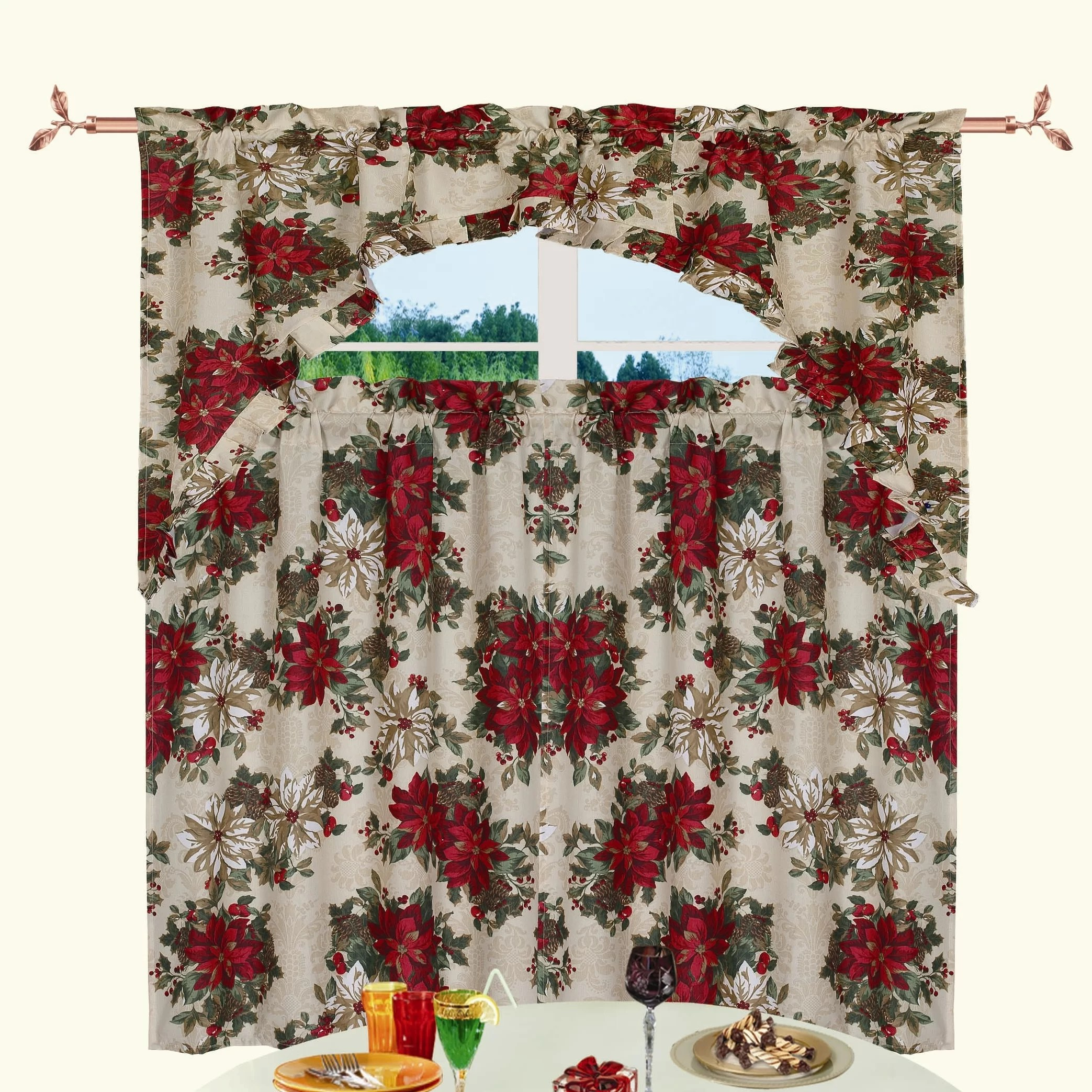 manford holiday kitchen curtain valance and tier set