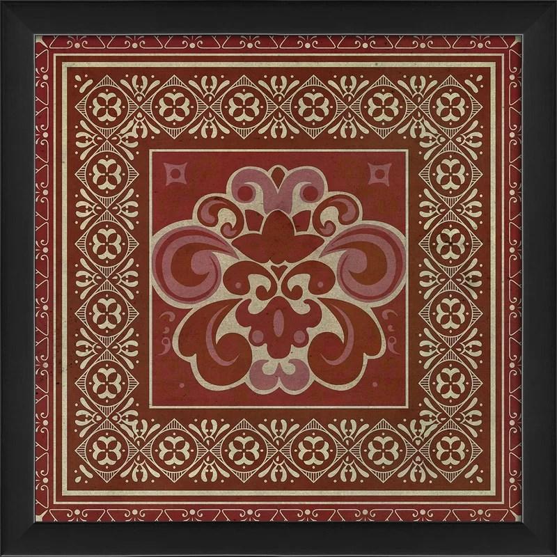 Tile 4 Framed Graphic Art Color: Red
