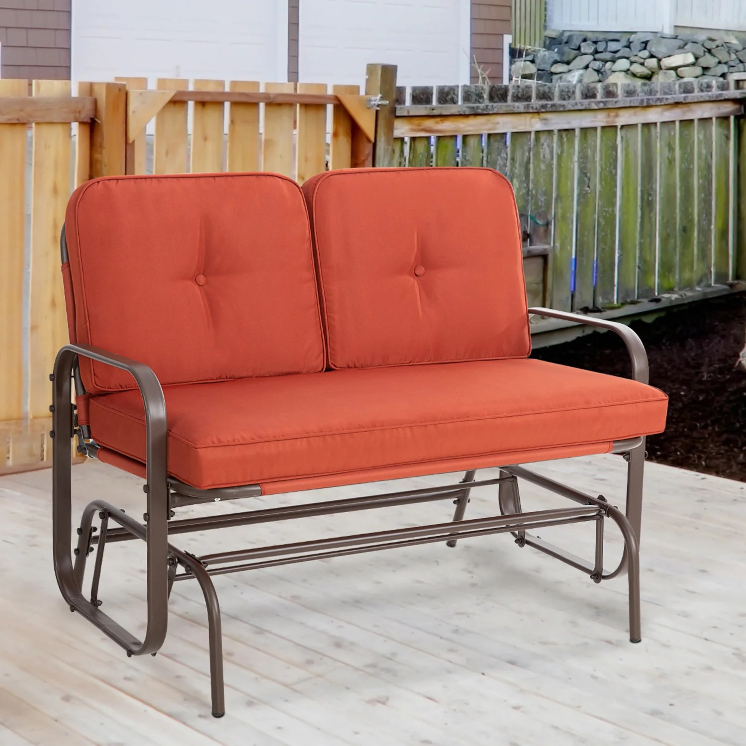 https www wayfair com outdoor pdp lark manor outdoor patio rocking glider swing loveseat patio bench chair for 2 persons patio wrought steel iron frame rocker chair set with cushion for garden backyard porch red w005197925 html
