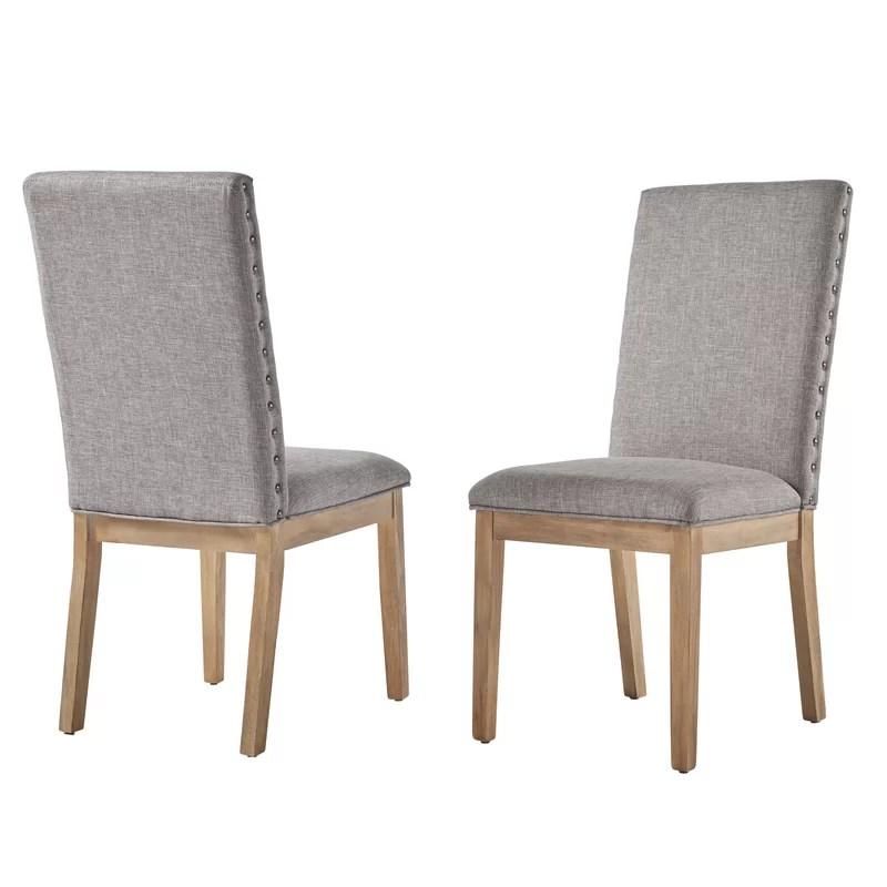 nailhead upholstered dining chair ikea bean bag tamarack linen reviews birch lane