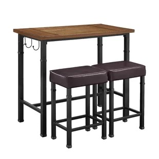 outdoor high top table and chairs set church of america modern bar pub tables allmodern sevigny 3 piece
