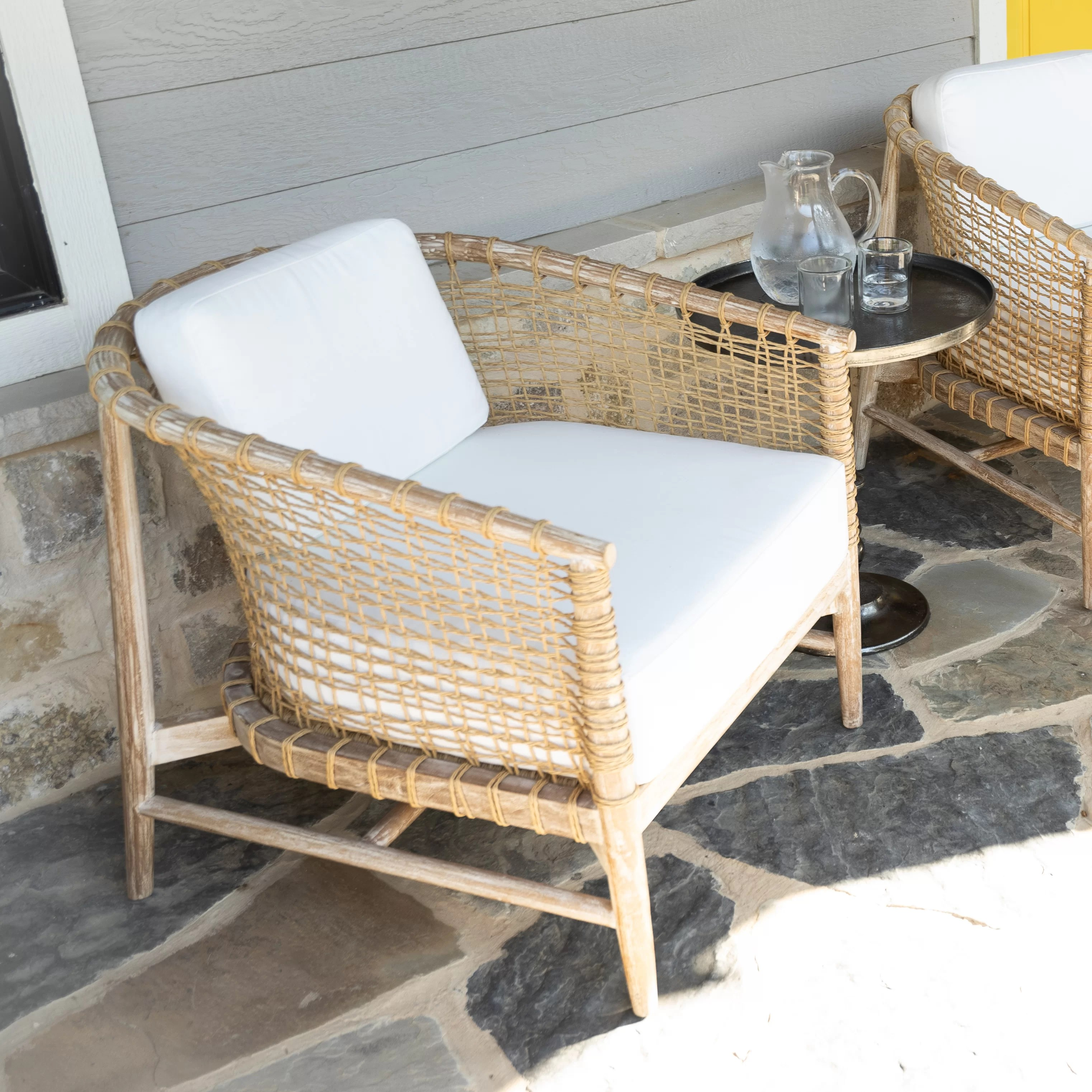 brylee teak patio chair with cushions