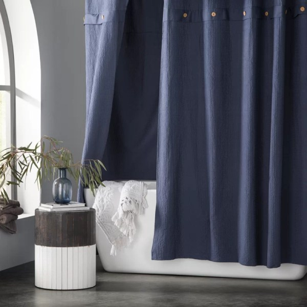 Eider & Ivory Carmella Waffle 100 Cotton Single Shower Curtain