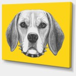 Designart Funny Beagle Dog With Collar Graphic Art On Wrapped Canvas Wayfair