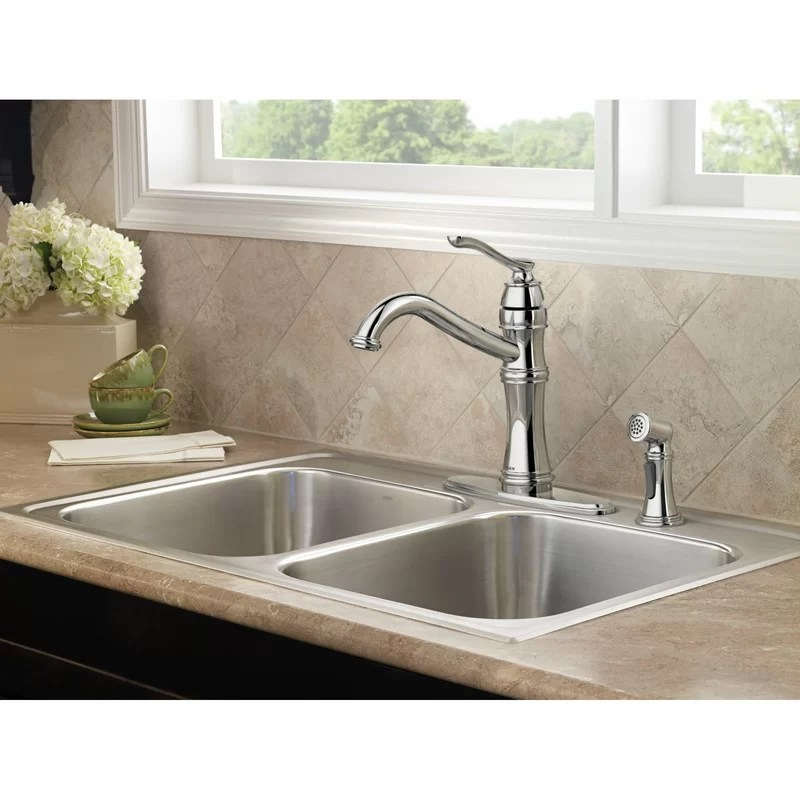 belfield single handle kitchen faucet with optional side spray and duralock