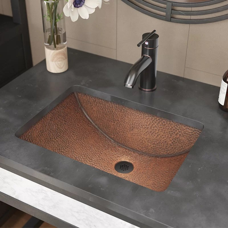 single bowl copper rectangular undermount bathroom sink with drain assembly