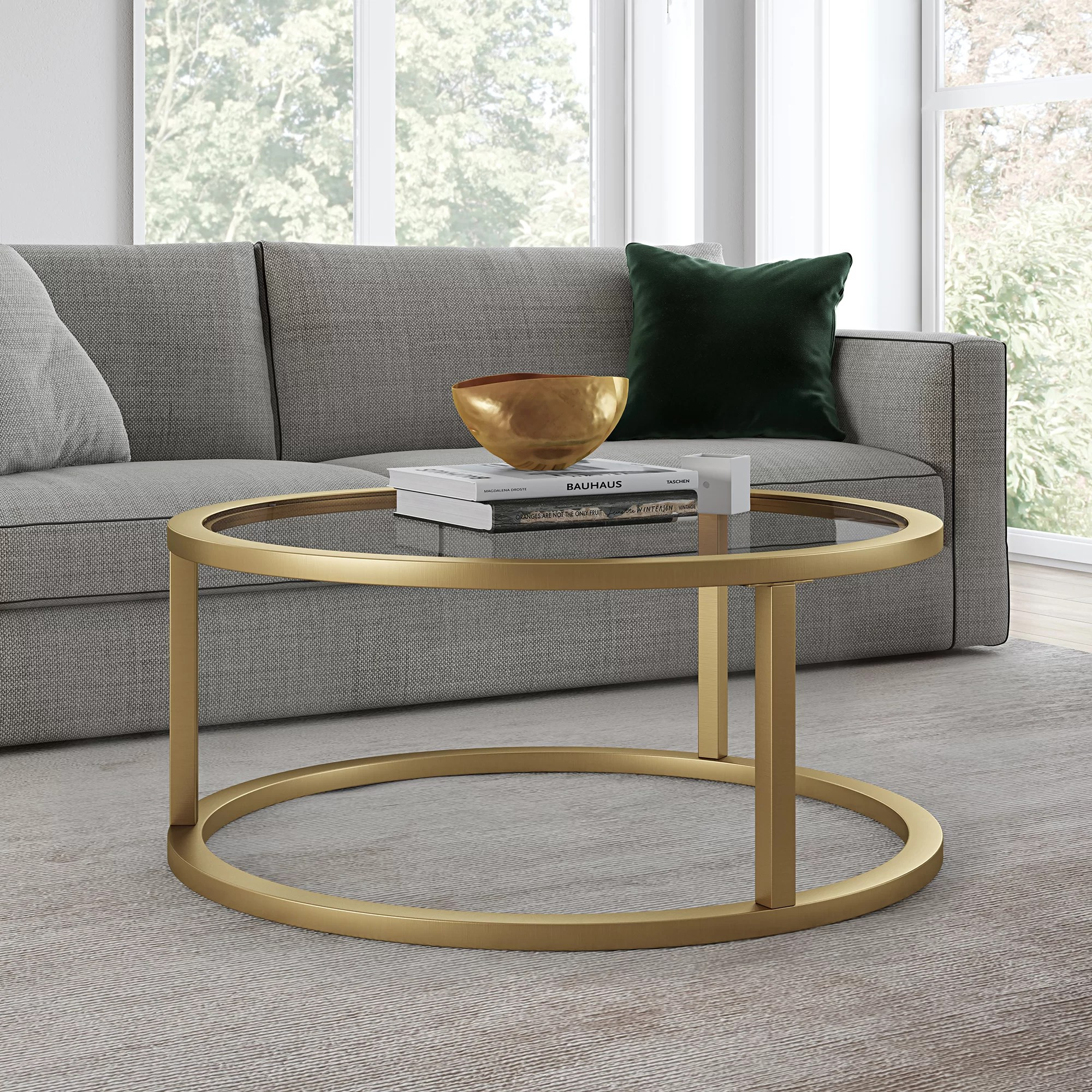 brass glass coffee tables you ll love