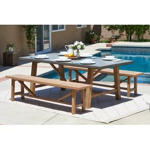 3 piece outdoor table and chairs desk chair wood stone mosaic furniture birch lane desborough dining set