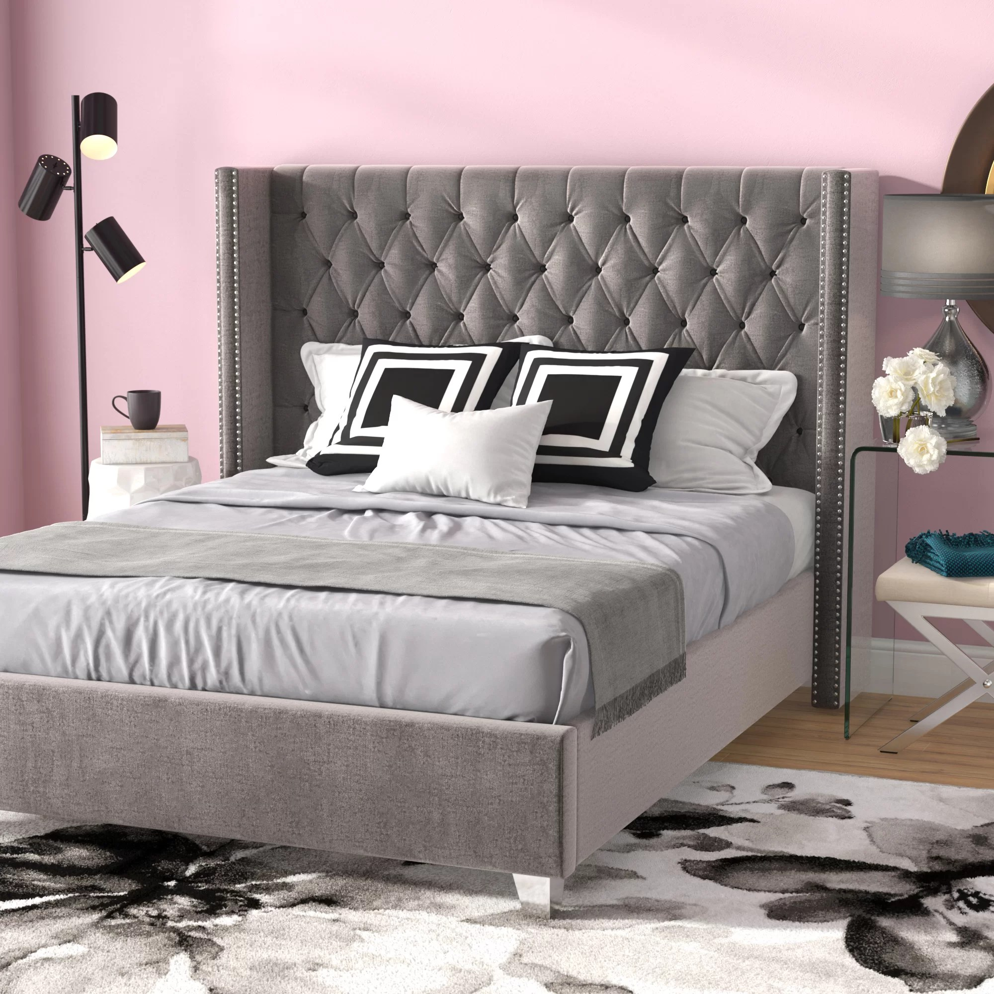 Willa Arlo Interiors Jennie Tufted Upholstered Low Profile Platform Bed Reviews